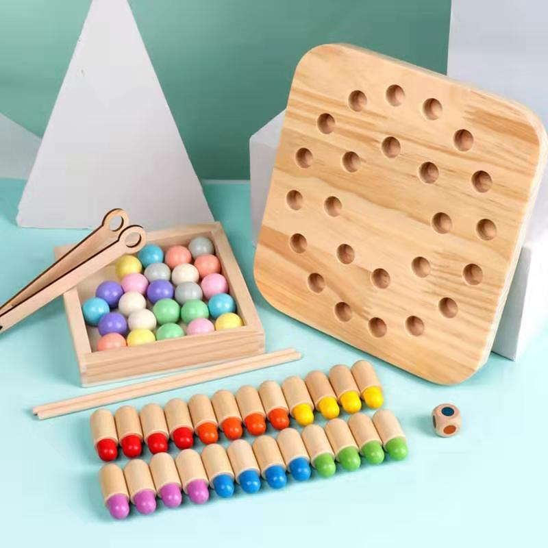 Kids Wooden Memory Chess Game Fun Early Educational Toy Color Cognitive Clip Beads Montessori Toys Birthday Gifts For Children