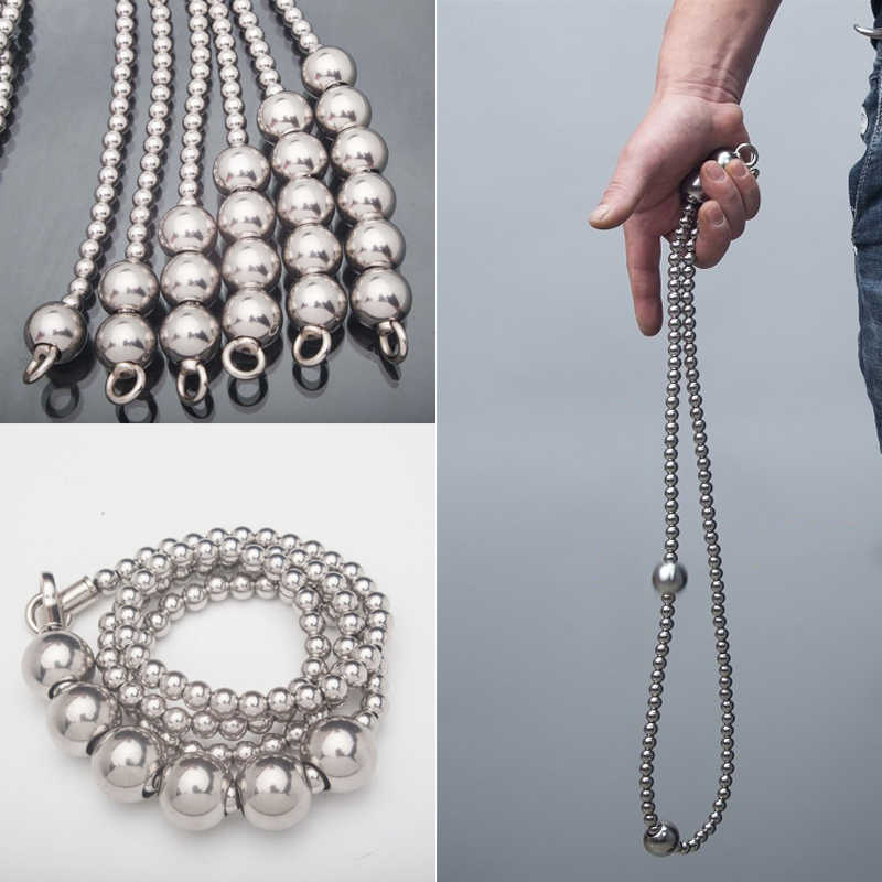 Outdoor Big Steel Ball Self defense Bracelet Necklace Stainless Steel Whip Titanium Steel Personal Safety Whip Car Weapon