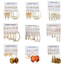 VAGZEB New Gold 6 pairs/set Acrylic Stud Earrings Set Color Simulated Pearl Crystal Earring for Woman Fashion Jewelry