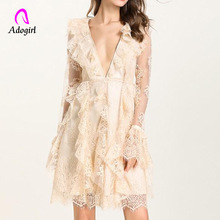 Adogirl Apricot Elegant V Neck Party Dress Women Long Sleeve Lace Dress Embroidery A Line R