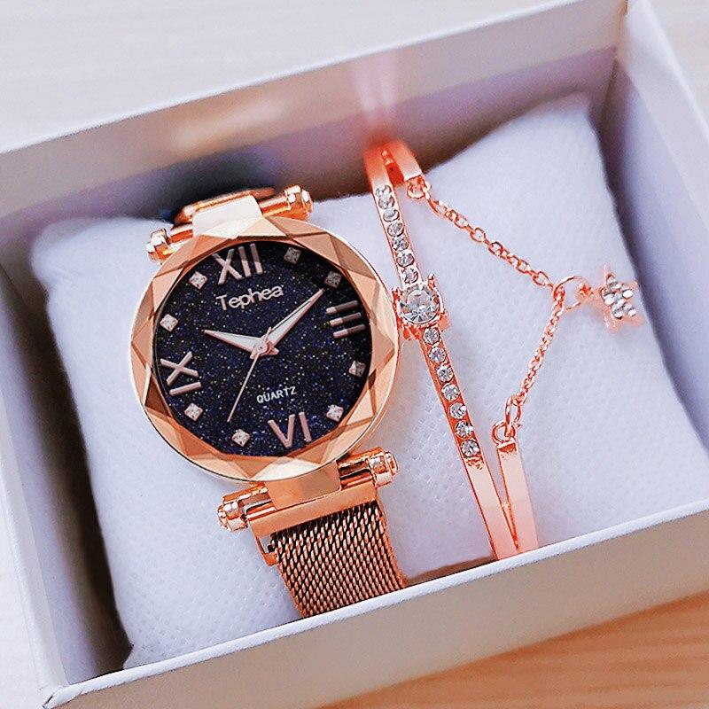 Tephea Luxury Rose Gold Women Watches 2019 Magnetic Starry Sky Wrist Watch For Ladies Female Clock Reloj Mujer Relogio Feminino