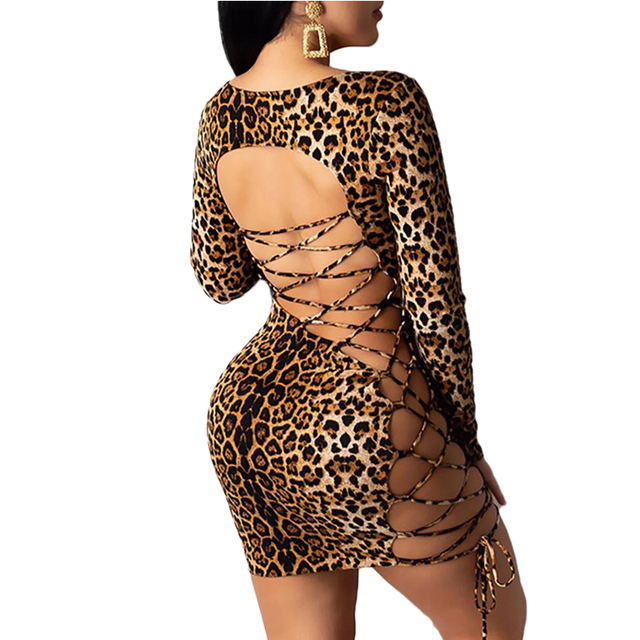 Meihuida Women Sexy Leopard Mini Dress Long Sleeve O-Neck Backless Skinny Stretch Short Dresses Night Club Sex Wear 3