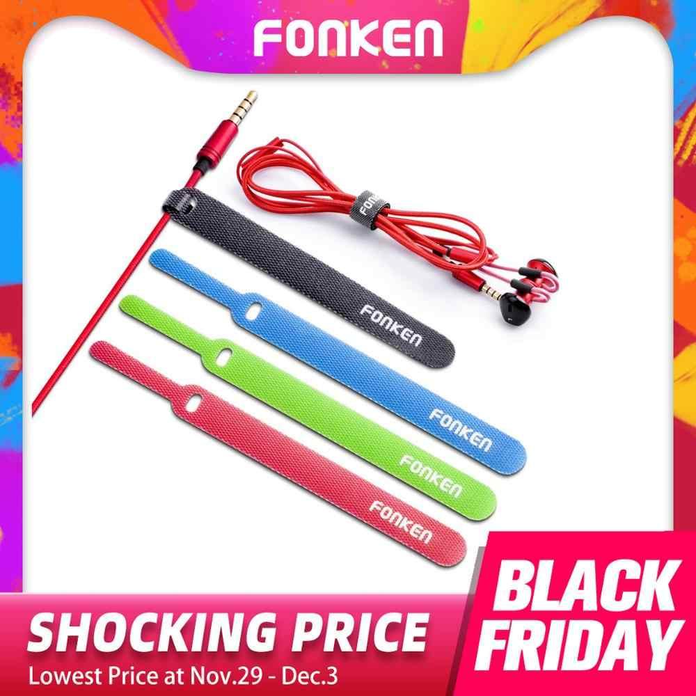 20 piezas FONKEN enrollador de Cable USB organizador de Cable de teléfono ratón AUX HDMI auriculares Gestión de lazos de alambre cuerda velcro Cables fijos