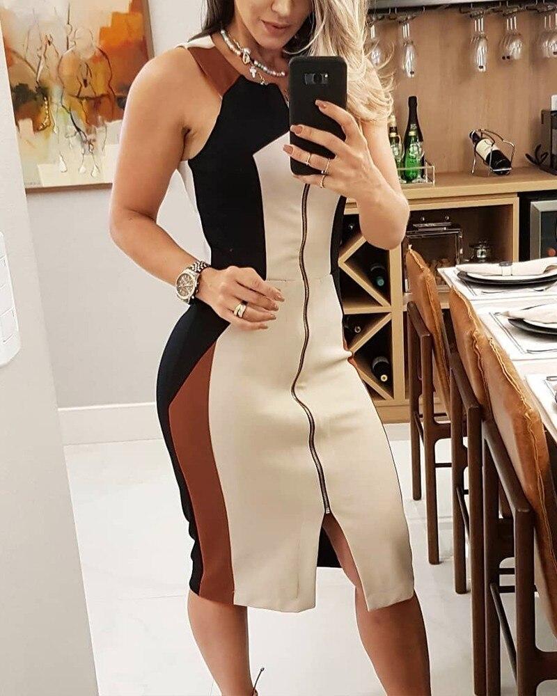 Colorblock Sleeveless Zipper Design Summer Dress Women Casual Midi Weekend Dress
