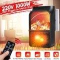 1000 Вт Мини Портативный PTC нагреватель Электрический нагреватель вентилятор камин пламя цифровой дисплей-Таймер Пульт дистанционного управ...