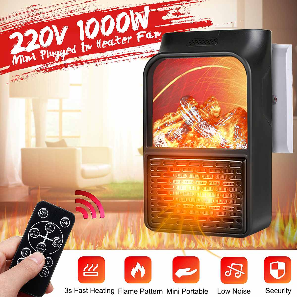 1000W Mini Portable PTC Heater Electric Heater Fan Fireplace Flame Display Timer Remote Control Household Winter Heating Machine