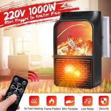 1000W Mini Portable PTC Heater Electric Heater Fan Fireplace Flame Display Timer Remote Control Household Winter Heating Machine(China)