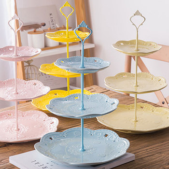 European Three-layer Fruit Plate Snack Plate Party Afternoon Tea Cake Pastry Stands Ceramic Snack Storage Basket