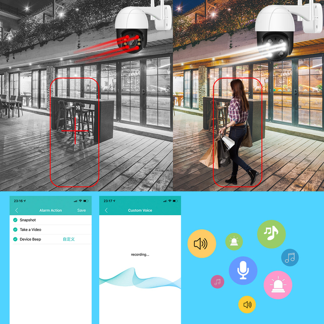 5MP HD PTZ Wifi Camera Outdoor Ai Human Detect Auto Tracking Audio WiFi PTZ Camera 1080P Color Night Vision Cloud CCTV IP Camera 2