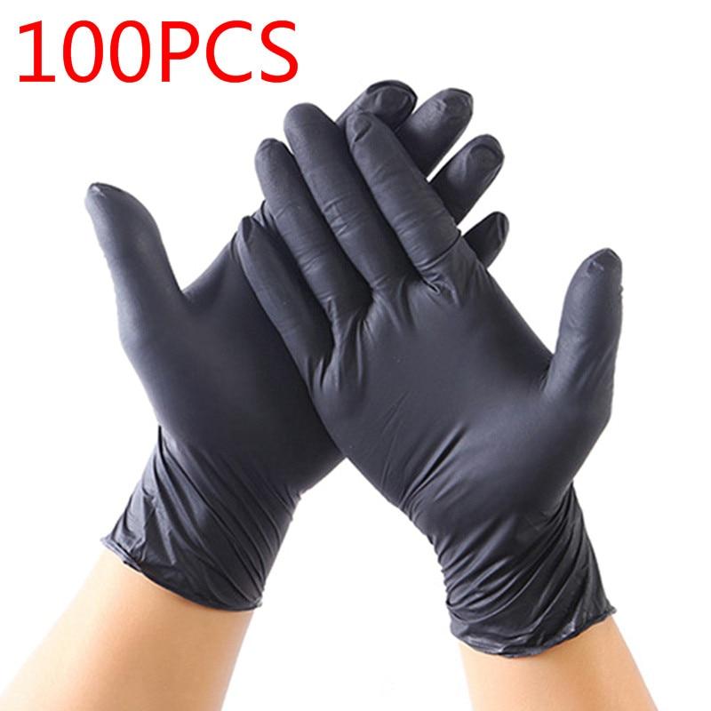 Black Nitrile Gloves 100Pcs Food Grade Waterproof Allergy Free Safety Kitchen/Rubber/Work Gloves Disposable Gloves Latex Glove