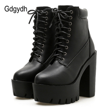 Gdgydh 2019 New Women Ankle Boots Lacing Soft Leather Round Toe Platform Female Short Boots Black White Gothic Thick Heels Shoes цены