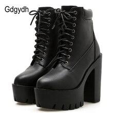 Gdgydh 2020 ใหม่ผู้หญิงข้อเท้ารองเท้าบู๊ทส์หนังนุ่มรอบToe Platformรองเท้าสั้นหญิงสีดำสีขาวGothicส้นหนารองเท้า