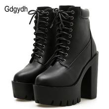 Gdgydh 2020 새로운 여성 발목 부츠 레이싱 부드러운 가죽 라운드 발가락 플랫폼 여성 짧은 부츠 블랙 화이트 고딕 두꺼운 발 뒤꿈치 신발