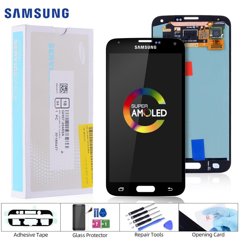 5.1'' Original AMOLED LCD For SAMSUNG S5 LCD Touch Screen For SAMSUNG Galaxy S5 LCD <font><b>Display</b></font> Screen S5 i9600 G900 LCD Parts image