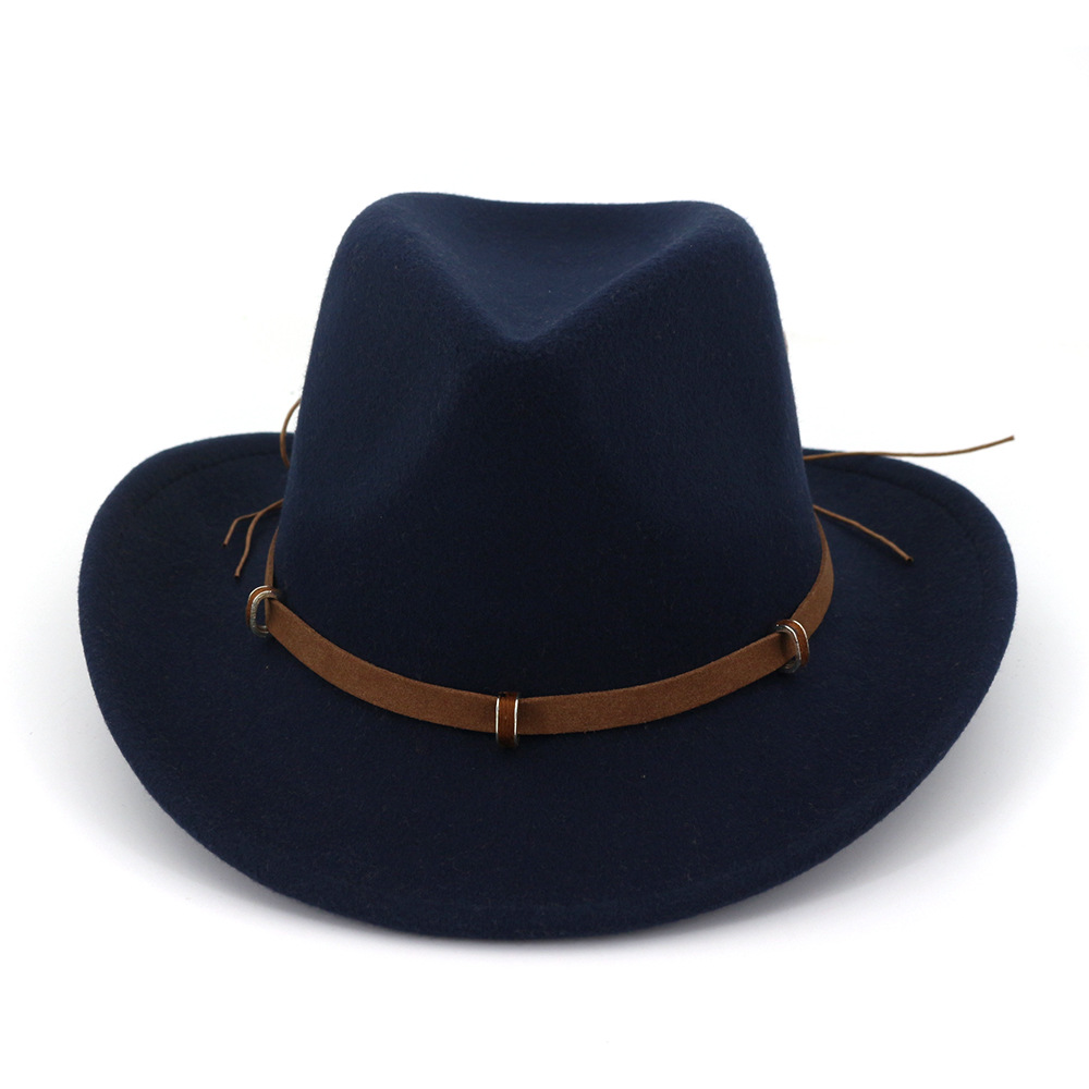 Classic Solid Color Felt Fedoras Hat For Men Women Artificial Wool Blend Jazz Cap Wide Brim Simple Church Derby Flat Top Hat