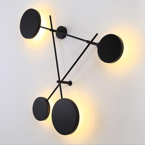 criativo preto personalidade redonda lampada parede