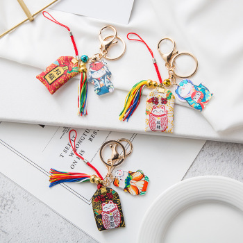 Christmas Everlasting Flower Keychains Healthy Peach Blossom Love Luck Blessing Keep With Key Chains Alloy Color Rope Key Rings image