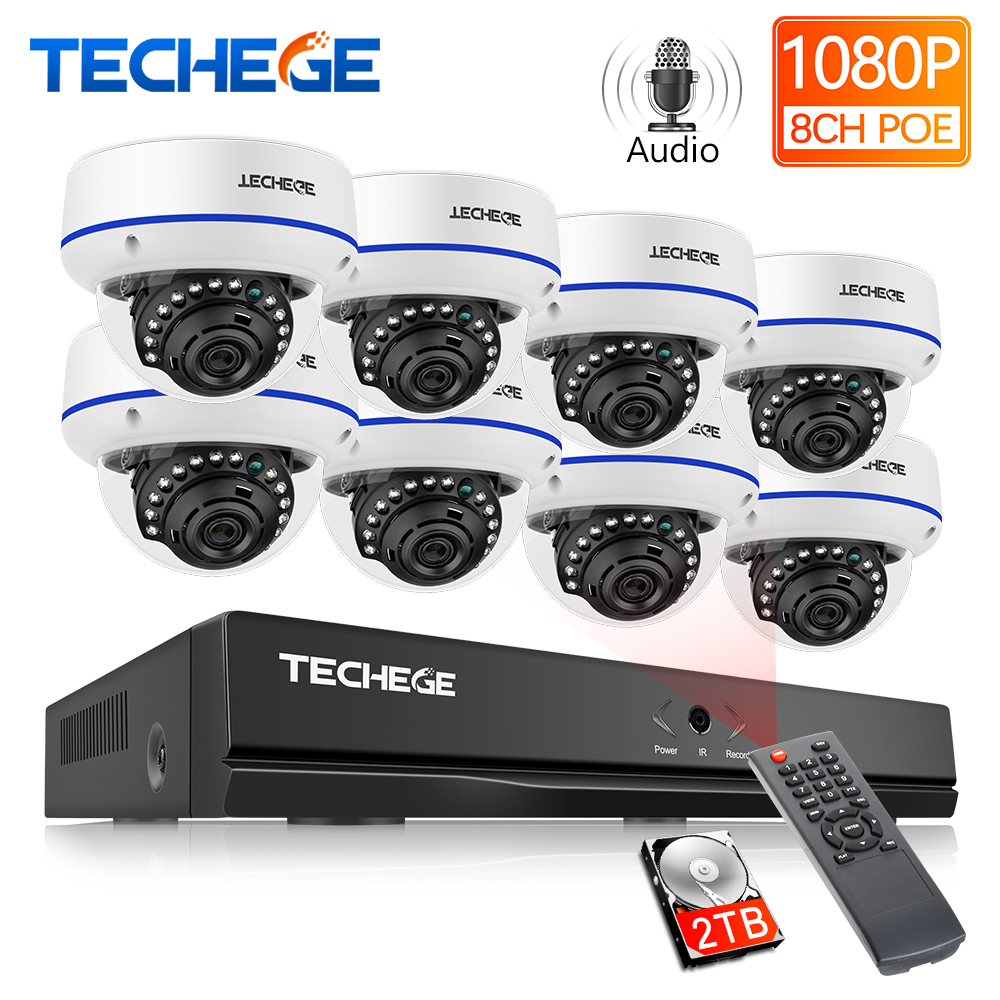Techege 8CH POE NVR Kit 1080P CCTV System 2MP IP Camera Audio Record Waterproof Motion Detection