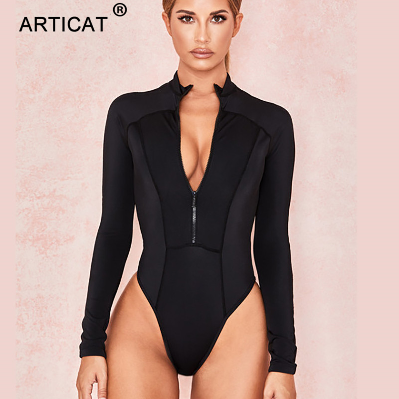Articat Black Zipper Sexy Skinny Bodysuit Women Playsuit Long Sleeve Bodycon Rompers 2020 Female Elastic Casual Bodysuits Tops