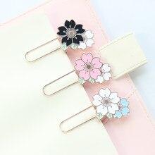 Domikee criativo bonito da flor do metal escola escritório papelaria suprimentos estudante kawaii bookmark para livros de clipes de papel decorativo