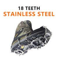 Acier inoxydable 18 dents universel anti-dérapant glace neige chaussure bottes poignées Crampons de Traction Crampons Crampons ramponi