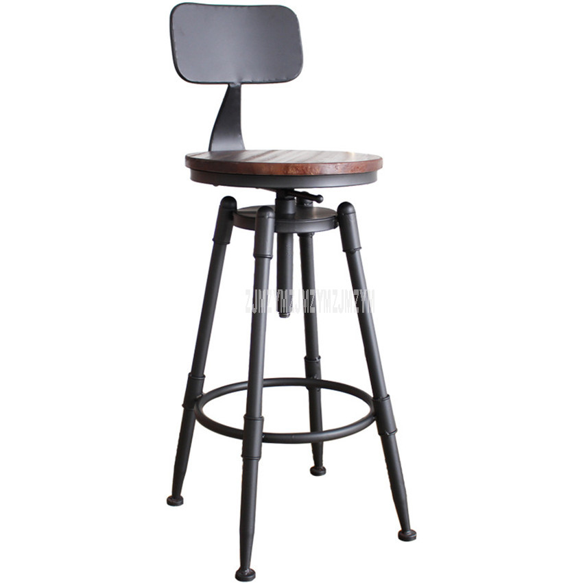 Retro American Country Style Swivel Bar Chair Stool Iron Art Wood/Soft Cushion Seat High Footstool Rotatable Liftable Bar Chair