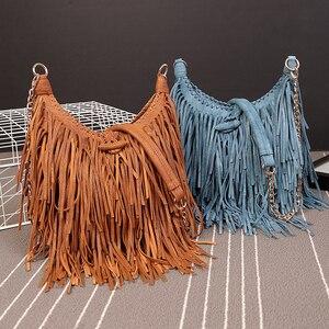 Image 3 - NIGEDU מותג עיצוב בציר נשים ארוך ציצית שקית שרשרת Crossbody שקיות נשים כתף שליח תיק איכות PU תיקים
