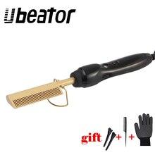 Новинка, Золотая расческа для волос, быстро сглаживающая электрическая расческа-выпрямитель для волос, керамическая греющая температура