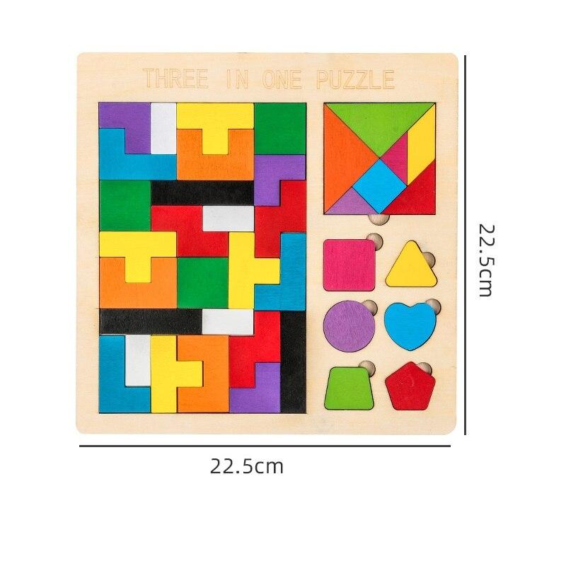 Деревянная головоломка 3D Tangram, 2 размера, яркие цветные детские креативные игрушки для школьников, детские развивающие игрушки для интеллек...