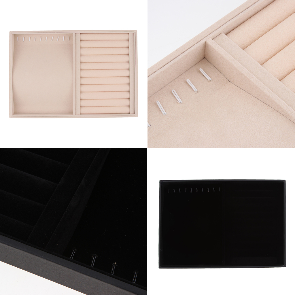 Velvet Stackable Jewelry Tray Showcase Display Organizer For Necklace Rings Cufflinks 35 X 24 X 3cm