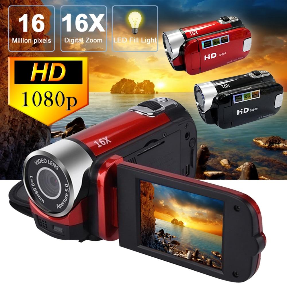 Profesional 1080P HD videocámara de visión nocturna 2,7 en LCD CÁMARA DE PANTALLA TÁCTIL 16X zoom digital cámara con micrófono Ultra cámara fotográfica 16MP Ultra-clear HD cámara Digital DVR 1080P Mini HD cámara de vídeo preciso cámara grabadora DVR negro