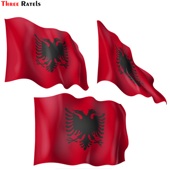 Three Ratels FC31 3D Albania Flag Car Sticker and Decal for BMW Vinyl Car Sticker PVC Decal for Helmet Motorcycle Skateboard image