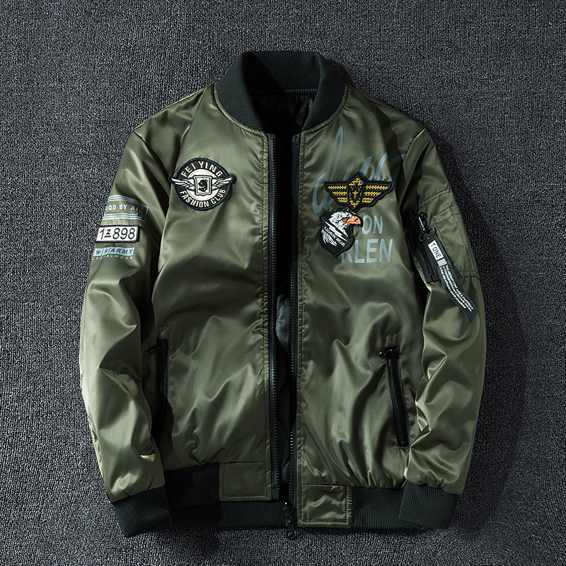 Winter Bomber Jacket Men Military Pilot Jacket Badge Fashion Double Side Wear Motorcycle Jacket Aautumn Youth Big Size 6XL 7XL