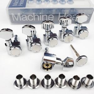 Image 2 - 1 Set 6 In Lijn Geen Schroeven Vergrendeling Elektrische Gitaar Machine Heads Tuners Lock String Stemsleutels Chroom Zilver