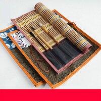 Brush Pen Pencil Bags Chinese Calligraphy Writing Brush Curtain Watercolor Brush Bamboo Portable Painting Brush Pencil Case