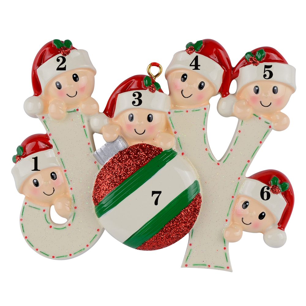 Os Membros Da Família de 6 Polyresin alegria Acentos Brilhantes Personalizado Enfeites de Árvore de Natal