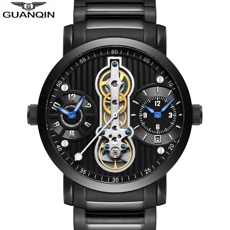 Homens à Prova Marca de Luxo Guanqin Novos Esportes Relógios Mecânicos Dwaterproof Água Tourbillon Esqueleto Automático Relógio Homem Masculino 2020