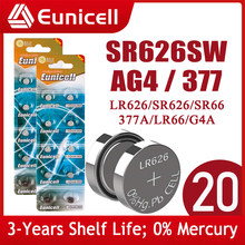 Eunicell 20pcs SR626SW LR626 AG4 Button Pilas Batteries SR66 LR66 377 377A 1.5V Alkaline Cell Coin Battery For Watch Toy Clock