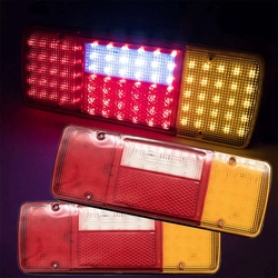 2pcs Universal 92 Leds 24V LED Rear Tail Lights Lamps for Truck Lorry Trailer Chassis Bus Car