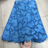 2019 Latest African Cord Lace Fabrics Nigerian Lace Fabric 2019 High Quality Lace Sky Blue French Lace Fabric For Wedding