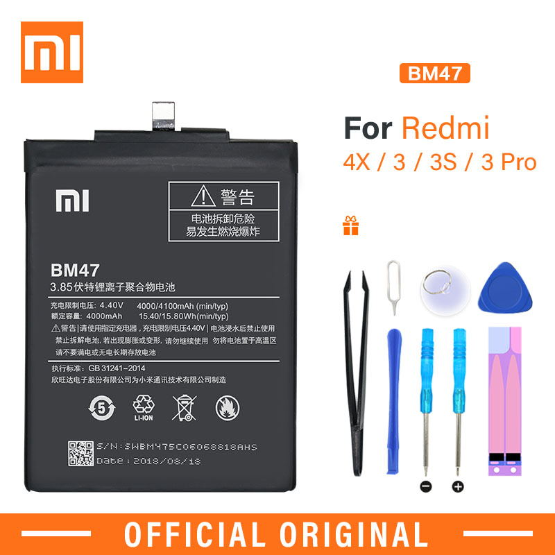 Xiao Mi Original Phone Battery BM47 High Quality 4000mAh Replacement Battery For Xiaomi Redmi 3 3S 3X 4X / 3Pro With Free Tools|Mobile Phone Batteries|   - AliExpress