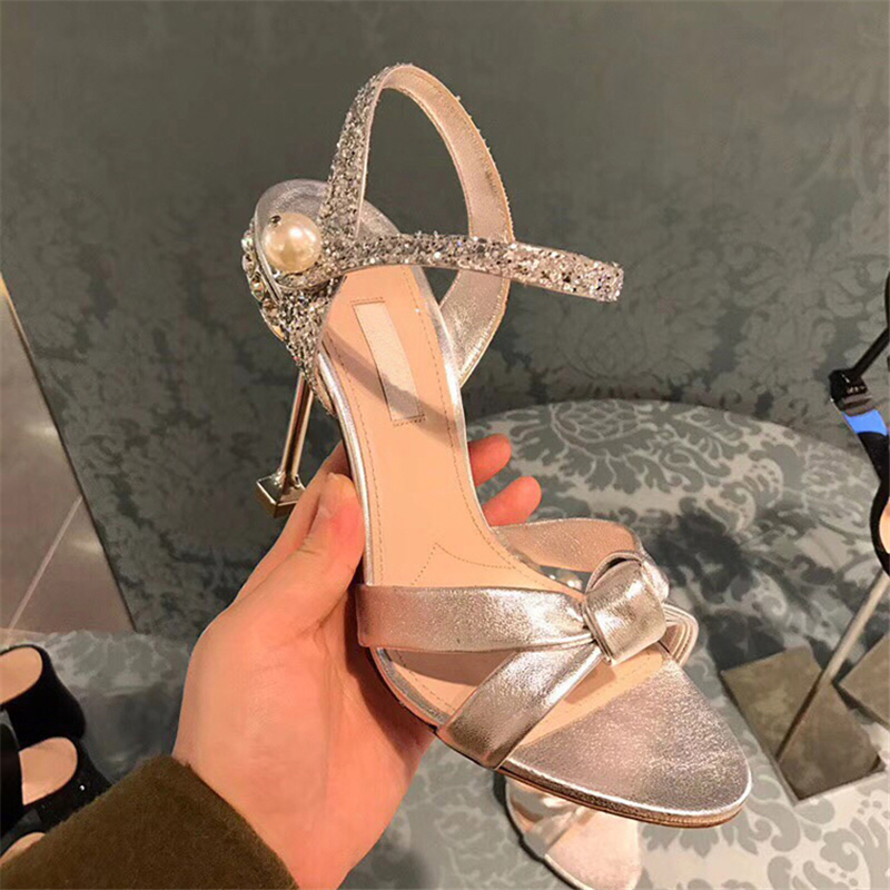 Women Sandals 8cm High Heels Crystal Summer Shoes Black 2019 New Fashion Stiletto Sexy Party Cat Heel Pearl Shoes Bow Tie Pumps