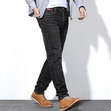 قسم رقيقة الرجال الجينز الرجال طويلة فضفاضة الأسود عادية حجم كبير XL السراويل الطويلة الضوء الأزرق المتضخم 44 46 48