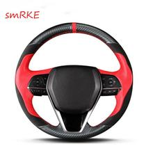 Hand sewing Carbon fiber Red leather steering wheel cover for Toyota camry 2018 цена 2017
