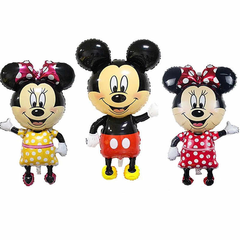 110 Cm Giant Mickey Minnie Mouse Foil Balon Kartun Pesta Ulang Tahun Bayi Shower Pesta Baloon Mainan