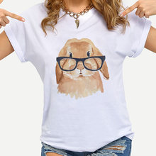 Банни с очками летние футболки для мальчиков; Летняя kawaii