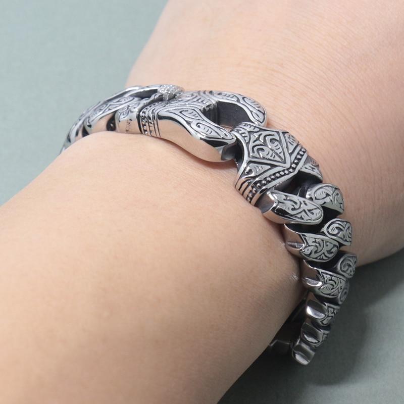 New Trendy 316L Stainless Steel Mens Bracelets 17MM Wide Silver Color Bracelet Men Jewellery Steel Bracelets