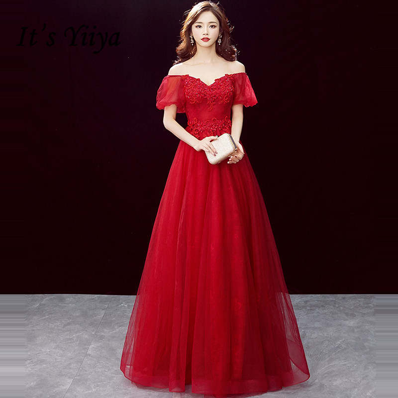 It's Yiiya Evening Dress Boat Neck Vintage Burgundy Long Robe De Soiree Short Sleeve Crystal Lace Women Party Night Dresses E755