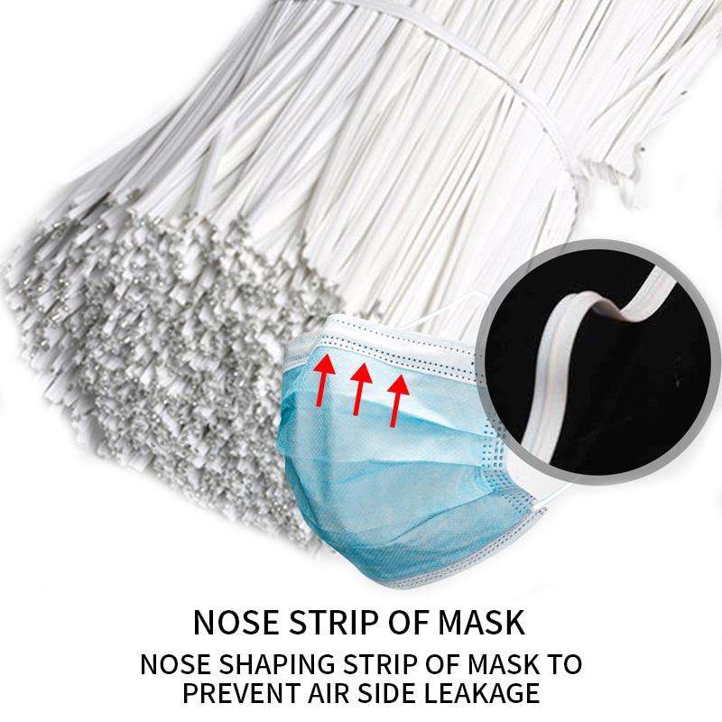 100-1000Pcs Mask Nose Bridge Clips PE Plastic Black/White Bendable Wires Flexible Adjustable Twist Ties DIY Mask Accessories