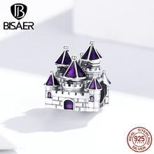 Bisaer Authentieke 925 Sterling Zilver Prinses Kasteel Bedels Koningin Kasteel Kralen Fit Armbanden Paars Emaille Zilveren Sieraden EFC122